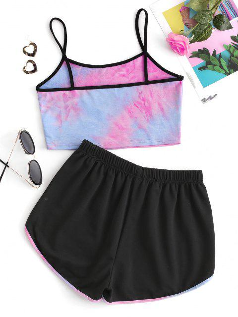 new Letter Print Tie Dye Camisole and Dolphin Shorts Set - BLACK L Mobile