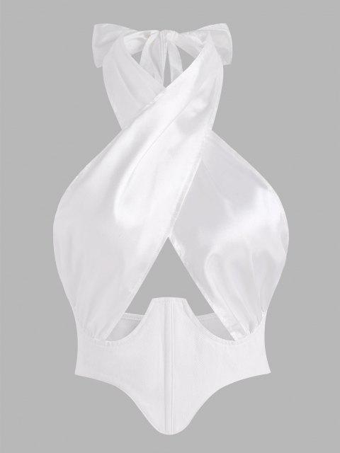 T-shirt Court avec Corset Taie D'Insecte Debout en Satin Haute Fente Latérale - Blanc L Mobile