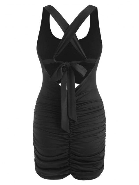affordable Cutout Criss Cross Ruched Bodycon Dress - BLACK S Mobile