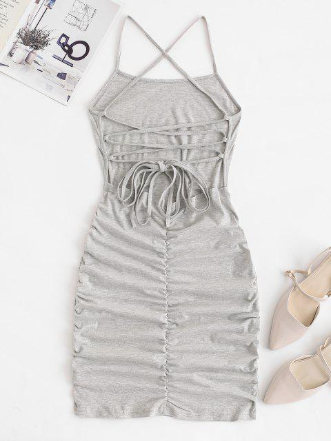 shops Strappy Criss Cross Ruched Bodycon Dress - LIGHT GRAY S Mobile