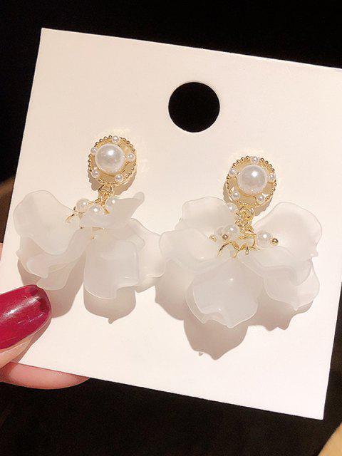 Blume Künstliche Perle Tropfen Ohrringe - Golden  Mobile