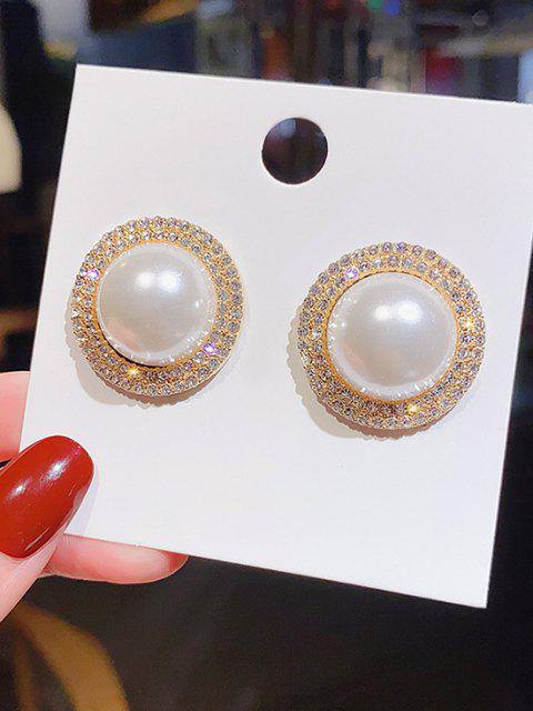 Diamante Künstliche Perle Silber Nadel Ohrringe - Golden  Mobile