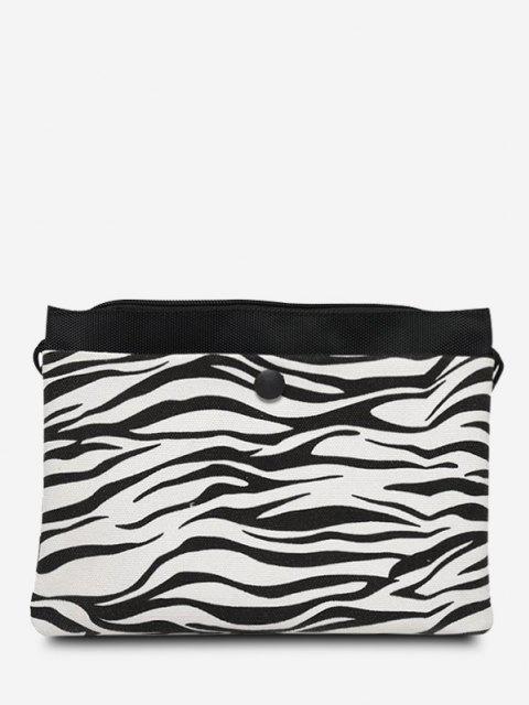 Flache Canvas Umhängetasche mit Nietenverzierung - Schwarz  Mobile