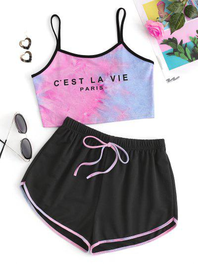 Letter Print Tie Dye Camisole And Dolphin Shorts Set - Black S