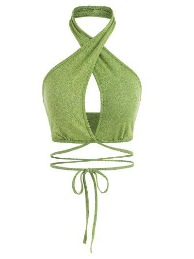 Halter Crossover Knit Midriff Flossing Top - Green M