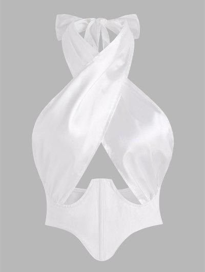 T-shirt Court Avec Corset Taie D'Insecte Debout En Satin Haute Fente Latérale - Blanc M