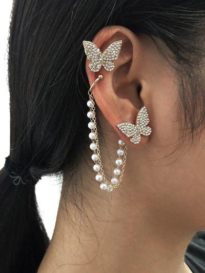 Butterfly Asymmetrical Chain Ear Cuffs - Golden