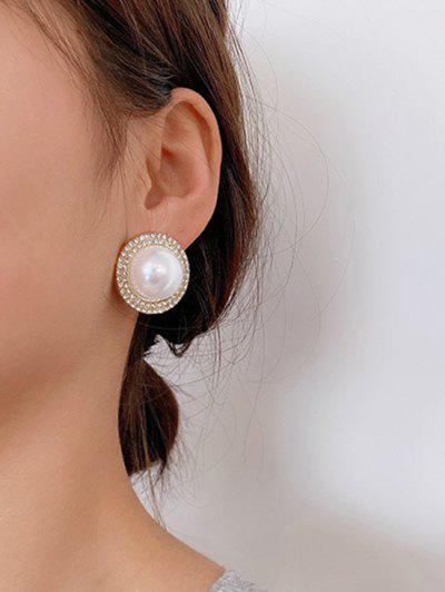 Diamante Faux Pearl Silver Needle Earrings - Golden