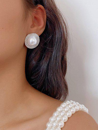Diamante Faux Pearl Silver Needle Earrings - Silver