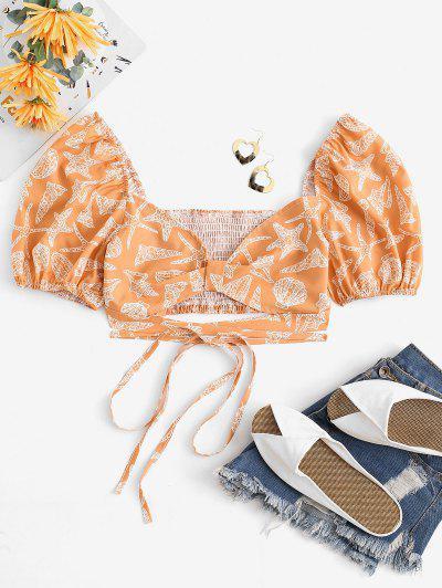 Marine Life Puff Sleeve Milkmaid Crop Blouse - Light Orange L