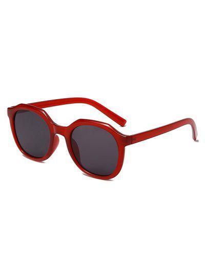 Classic Irregular Frame Anti UV Sunglasses - Deep Red