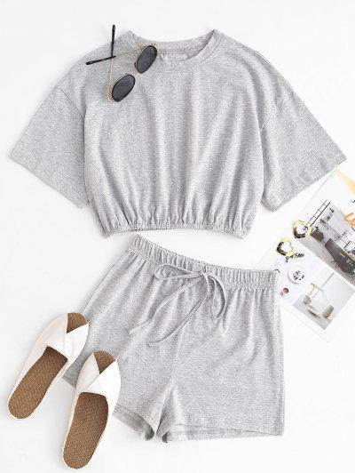 Marled Two Piece Set - Gray M
