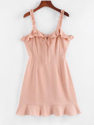 ZAFUL Mini-Robe à Bretelle à Volants - Rose Clair S