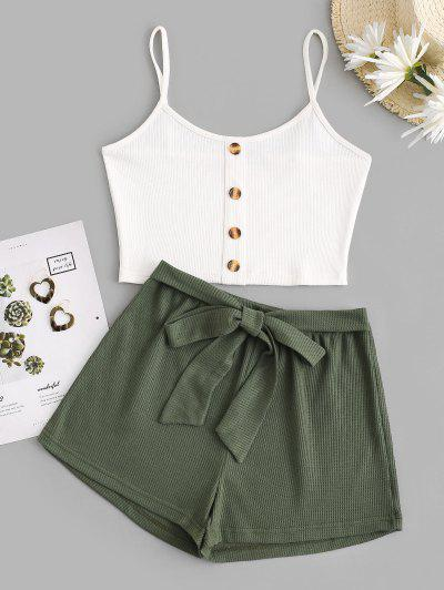 Ribbed Mix And Match Knotted Shorts Set - Multi S