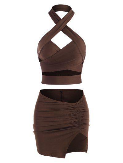 Crossover Cutout Halter Ruched Skirt Set - Deep Coffee S