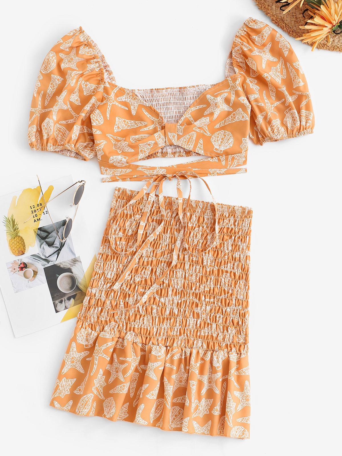 Marine Life Puff Sleeve Smocked Matching Skirt Set