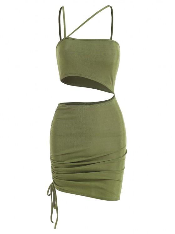ladies Cutout Cinched One Shoulder Bodycon Dress - LIGHT GREEN M