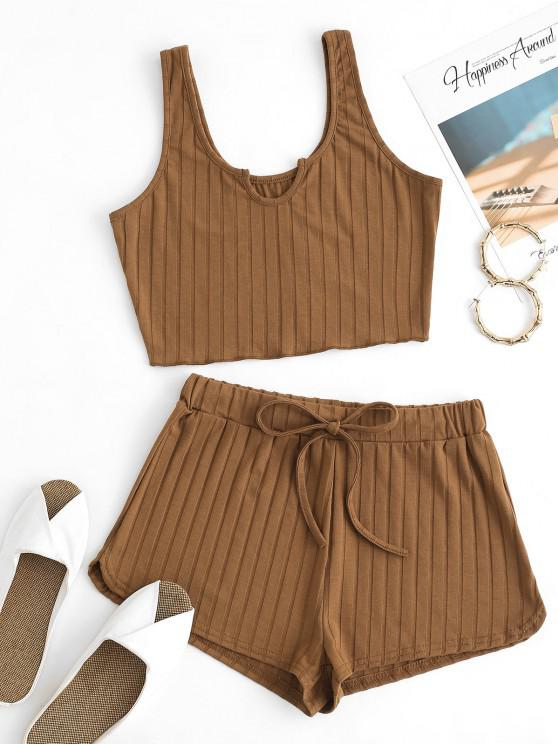 online V-notch Wide Rib Tank Top and Drawstring Shorts Set - COFFEE S