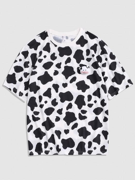T-Shirt mit Kuhmuster - Weiß S