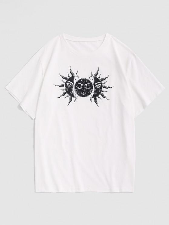 Celestial Sun And Moon Basic Tee - أبيض XXL