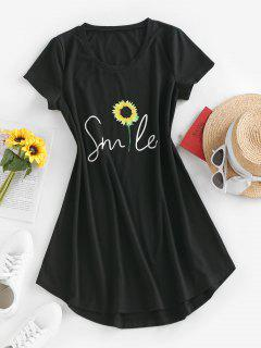 ZAFUL Sunflower Print Curved Hem T Shirt Dress - Black M