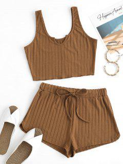 V-notch Wide Rib Tank Top And Drawstring Shorts Set - Coffee S