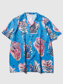 Camicia Stampata Pianta Con Maniche Corte - Blu Marino  M