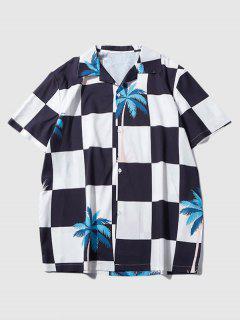 Palm Tree Checkerboard Print Vacation Shirt - Black Xl