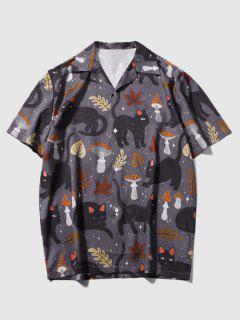Camisa De Férias Com Impressão De Folhas De Gato De Desenho Animado - Preto Xl