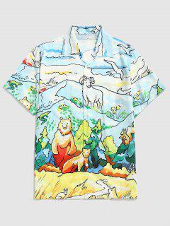 Camisa Casual De Estampado De Dibujo Animado Paisaje - Azul Aciano Xxl
