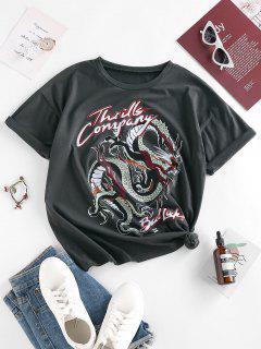 ZAFUL Drachen Buchstabedruck Lässiges T-Shirt - Grau M