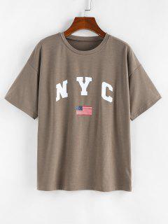 ZAFUL T-shirt Drapeau Américain Patriotique à Goutte Epaule - Café Lumière M