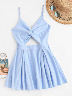 Vestido Escotado Con Adornado De Lazo - Azul Claro S
