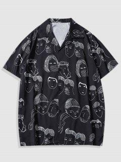 Short Sleeve Figure Pattern Shirt - Black L