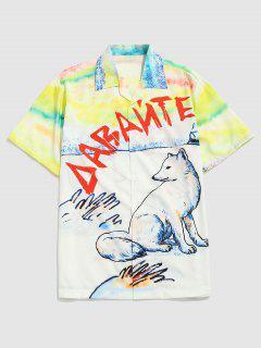 Watercolor Wolf Print Casual Short Sleeve Shirt - Sun Yellow Xxl