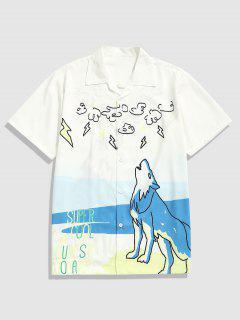 Roaring Wolf Print Casual Short Sleeve Shirt - White M