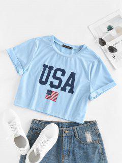 T-Shirt Corta Grafica Di Bandiera Americana Patriottica Di ZAFUL - Azzurro L