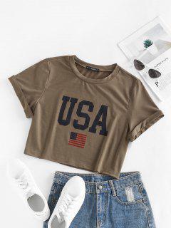 ZAFUL Camiseta Corta Con Estampado Patriótico De Bandera De Estados Unidos - Café S