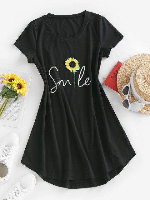 hot ZAFUL Sunflower Print Curved Hem T Shirt Dress - BLACK M Mobile