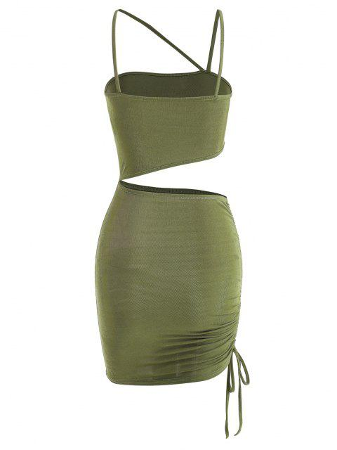 chic Cutout Cinched One Shoulder Bodycon Dress - LIGHT GREEN L Mobile