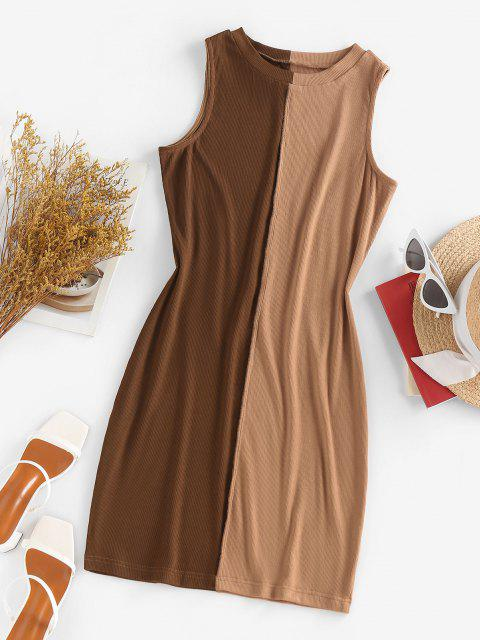 lady ZAFUL Ribbed Colorblock Topstitching Tank Dress - COFFEE S Mobile