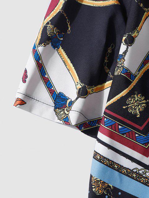 Halbe und Bandana Kette Druck Hemd - Schwarz XL Mobile