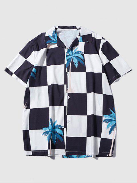 Palm Tree Checkerboard Print Urlaub Hemd - Schwarz L Mobile