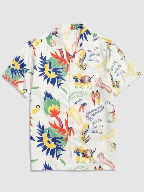 Ethno Stil Blumen Druck Kurzarm Hemd - Weiß XL Mobile
