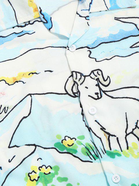 Cartoon Tier Landschaftdruck Lässiges Kurzärmliges Hemd - Kornblumenblau XXL Mobile
