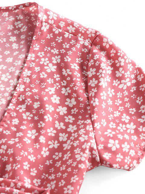 ZAFUL Blusa de Peplum con Lazo de Flores - Rosa claro M Mobile