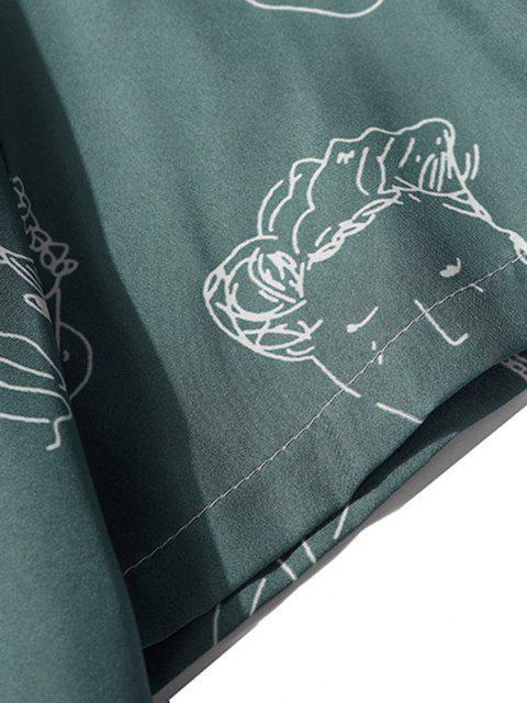 Kurzarm Figur Muster Hemd - Dunkelgrün M Mobile