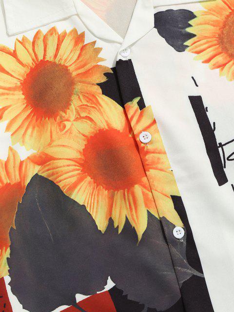 Sonnenblumen Insekten Druck Fußmatte mit Kurzen Ärmeln - Weiß XXL Mobile