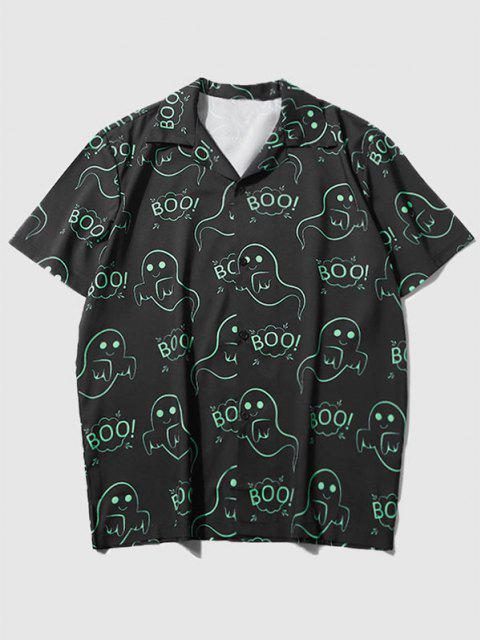 Kurzärmliges Hemd mit Ghost Aufdruck - Schwarz XXL Mobile