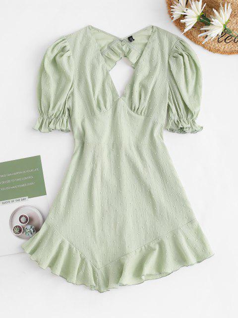 Schweizerisches Tupfen Bogen Rüschen Kleid mit Offenem Rücken - Hellgrün XS Mobile